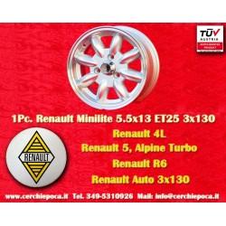 1 pc. cerchio Minilite Renault R4/R5/R6 Turbo 5.5x13 ET25 3x130