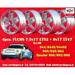 4 pcs. jantes Fuchs poli 7.5x17 + 9x17 Porsche 944 968 928 964 993 996 Boxster 986