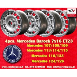 4 pcs. Mercedes Benz Barock Bundt Cake 7x16 ET23 5x112 silver/polished  wheels