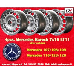 4 pcs. Mercedes Benz Barock Bundt Cake 7x16 ET11 5x112 silver/polished wheels