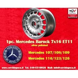 1 pc. Mercedes Benz Barock Bundt Cake 7x16  ET11 5x112 silver/polished wheel