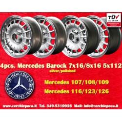 4 Stk. Felgen Mercedes Benz 2 Stk. 7x16 ET11 + 2 Stk. 8x16 ET11 PCD 5x112 Barock Bundt Cake silver/polished