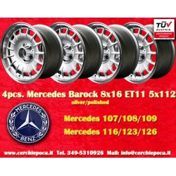 4 Stk. Felgen Mercedes Benz Barock Bundt Cake 8x16 ET11 5x112 silver/polished