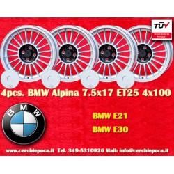 4 pcs. BMW Alpina E30 E21 7.5x17 ET25 4x100 wheels