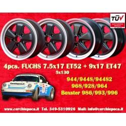 1 set 4 pcs. cerchi Porsche Fuchs style 2 pcs. 7.5x17 ET52 + 2 pcs. 9x17 ET47 5x130