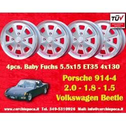 4 Alufelgen Porsche/Volkswagen 914 Fuchs silver 5.5x15 ET35 4x130