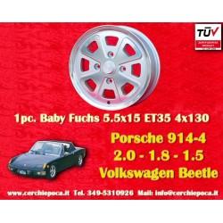 1 pc.  Alufelge Porsche/Volkswagen 914 Fuchs silver 5.5x15 ET35 4x130