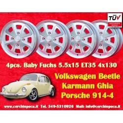 4 uds. llantas Volkswagen Beetle Karmann Ghia Baby Fuchs silver 5.5x15 ET35 PCD 4x130