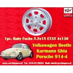 1 pc. cerchio Volkswagen Beetle Karmann Ghia Baby Fuchs silver 5.5x15 ET35 PCD 4x130