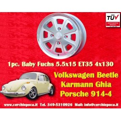 1 Stk. Felge Volkswagen Beetle Karmann Ghia Baby Fuchs silver 5.5x15 ET35 Lk. 4x130