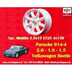 4 pcs. cerchi Porsche 914 1.7, 1.8, 2.0Minilite 5.5x15 ET25 4x130