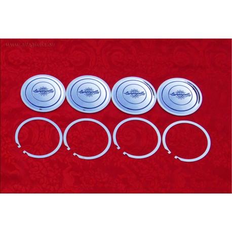 1 Set (4 pcs) of Campagnolo C83 model center caps (diameter 83mm) for lightweight alloy wheels
