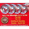 4 pcs jantes Fiat 500/126 Millemiglia 5x12 ET20 4x190