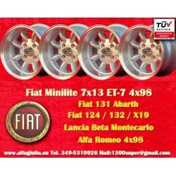 4 pcs. Fiat/Autobianchi/Lancia Minilite 7x13 ET-7 4x98 wheels