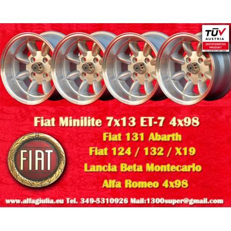 4 pcs Fiat/Autobianchi/Lancia Minilite 7x13 ET-7 4x98