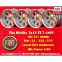 4 Stk. Felgen Fiat/Autobianchi/Lancia Minilite 7x13 ET-7 4x98