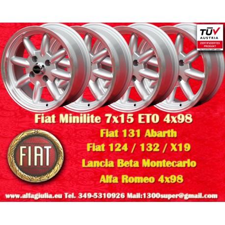 4 Stk. Fiat Minilite 7x15 ET0 4x98