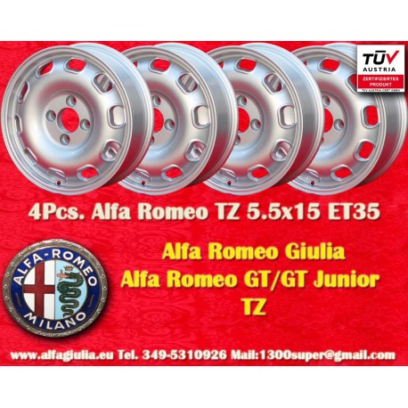 4 pcs Jantes Alfa Romeo Giulia TI/TZ Giulietta 5.5x15 ET35 4x108
