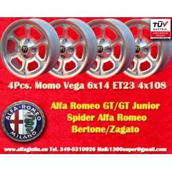 4 pcs Alfa Romeo Momo Vega  6x14 ET23 4x108 SIlver wheels