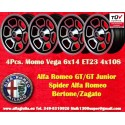 4 pcs Alfa Romeo Momo Vega  6x14 ET23 4x108 wheels