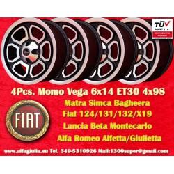 4 pcs. cerchi Fiat/Lancia/Alfa Romeo Momo Vega  6x14 ET30 4x98