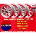 4 pcs. jantes Datsun Minilite  7x15 ET0 4x114.3
