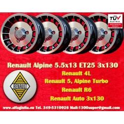4 Stk. Felgen Renault R4/R5/R6 Turbo Alpine 5.5x13 ET25 3x130