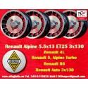4 pcs. jantes Renault R4/R5/R6 Turbo Alpine 5.5x13 ET25 3x130
