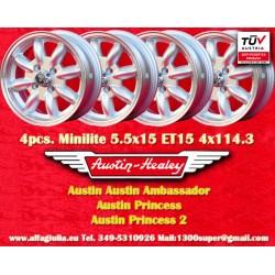 4 Stk. Austin Minilite 5.5x15 ET15 4x114.3