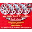 4 Stk. Felgen Austin Minilite 5.5x15 ET15 4x114.3