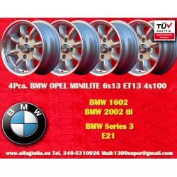 4 pcs. BMW Minilite 6x13 ET13 4x100 wheels