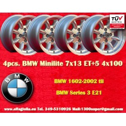 4 pcs. BMW Minilite 7x13 ET+5 4x100 wheels