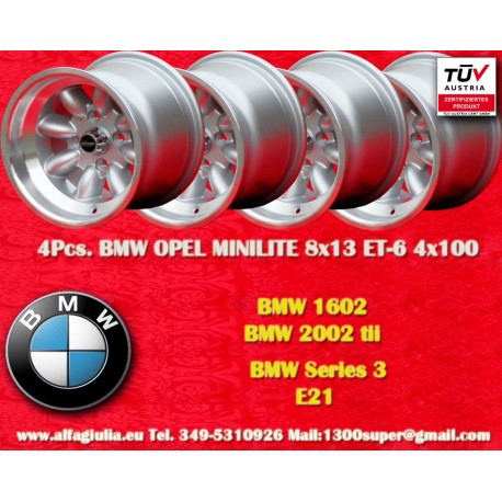 4 Stk. BMW Minilite 8x13 ET-6 4x100