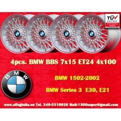 4 pcs. BMW Series 3, E21, E30 BBS X Spoke 7x15 ET24 4x100 wheels4 pcs. cerchi BMW Series 3, E21, E30 BBS X Spoke 7x15 ET24 4x100