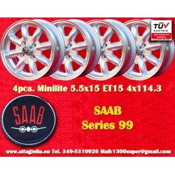 4 pcs. Saab Minilite 5.5x15 ET15 4x114.3 wheels