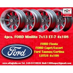 4 pcs. jantes Ford Minilite 7x13 ET-7 4x108 Anthracite