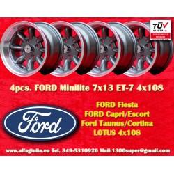 4 Stk. Ford Minilite 7x13 ET-7 4x108 Anthracite