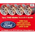 4 pz. llantas Ford Minilite 7x13 ET-7 4x108