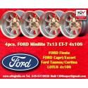 4 Stk. Felgen Ford Minilite 7x13 ET-7 4x108