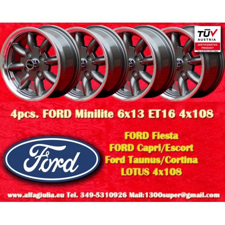 4 pcs. Ford Minilite 6x13 ET16 4x108 Anthracite
