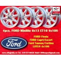 4 pcs. Ford Minilite 6x13 ET16 4x108 wheels