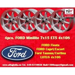4 pcs. Ford Minilite 7x15 ET+5 4x108 wheels