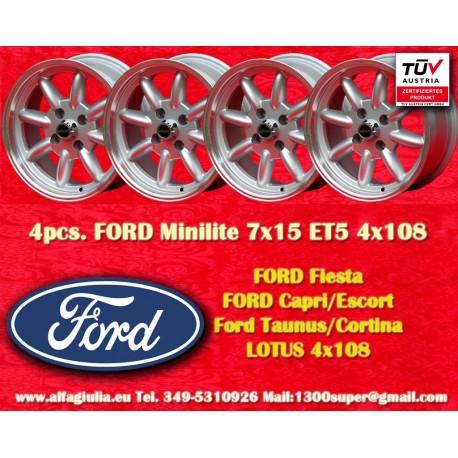4 Stk. Ford Minilite 7x15 ET+5 4x108