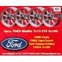 4 pz. llantas Ford Minilite 7x15 ET+5 4x108