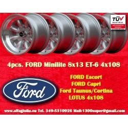 4 pcs. Ford Minilite 8x13 ET-6 4x108 wheels