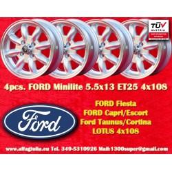 4 pcs. Ford jantes Minilite 5.5x13 ET25 4x108