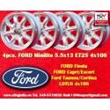 4 pcs. Ford Minilite 5.5x13 ET25 4x108 wheels