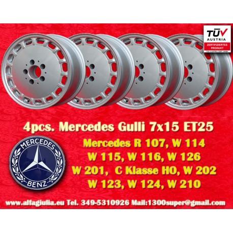 4 Stk. Felge Mercedes Benz Gullideckel 7x15 ET25 5x112