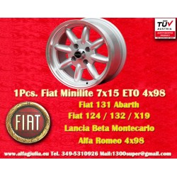 1 pc. Fiat Minilite 7x15 ET0 4x98 wheel