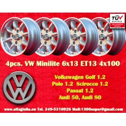 4 Stk Felgen  Volkswagen Minilite 6x13 ET13 4x100